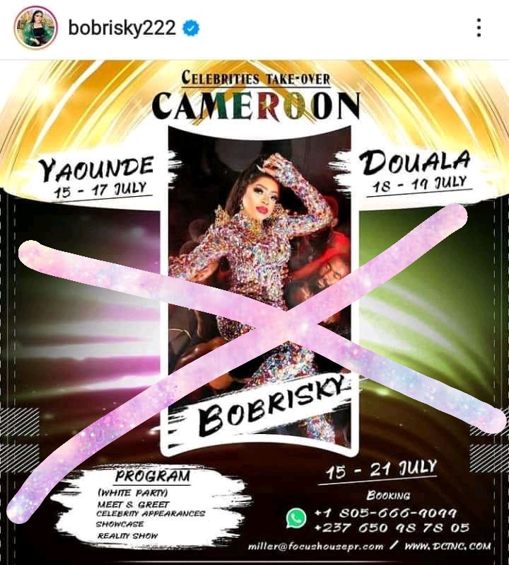 BOBRISKY HAS TO BE BANNED IN CAMEROON. WE WON'T TOLERATE THE LGBTQ AGENDA